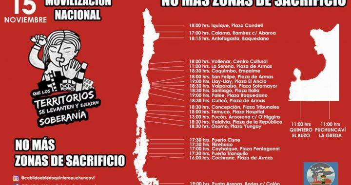 El MIR adhiere a movilización ¡No más zonas de Sacrificio! – 14 nov 2018